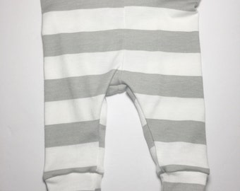 Cotton Knit, grey and white stripe Baby,Toddler Leggings, Pants photo prop,newborn,take home outfit,little girl,fall,summer,warm