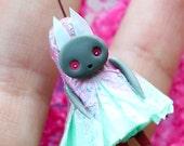 Miniature Figurine | Bunny Rabbit, Whimsical Woodland Creature, Unique Gift, Designer Toy, Paper Clay Dolly, Original Artwork