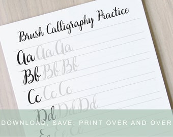 Brush Lettering Worksheets, Calligraphy Tutorial, Alphabet Practice Guides, Learn Calligraphy, Printable Brush Calligraphy Practice Sheets