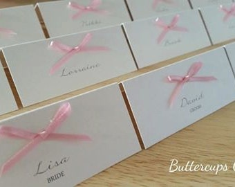 Pink place cards, ivory place cards, name cards, place settings, name place, vintage name place cards, printed name cards, custom name card