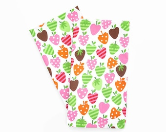 Pink Strawberry Tea Towels, Set of 2, Strawberry Kitchen Decor, Pink Strawbery Dish Towel, Tea Towel with Strawberries, Cute Pink Tea Towels