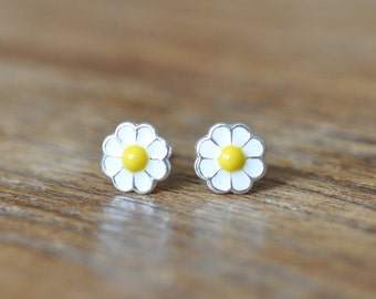 Sterling Silver Flower Stud Earrings, Daisy Earrings, Children's Earrings, Kid's Earrings, White Daisy Studs