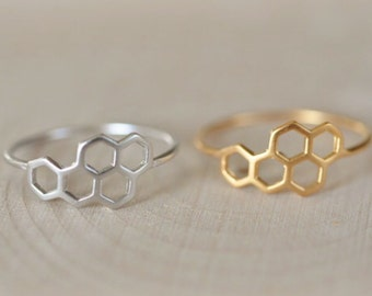 Honeycomb Ring in Sterling Silver 925, Gold Bee Ring, Hexagon Ring, Geometric Ring, Beehive Ring, Bumblebee Ring, Jamberjewels 925
