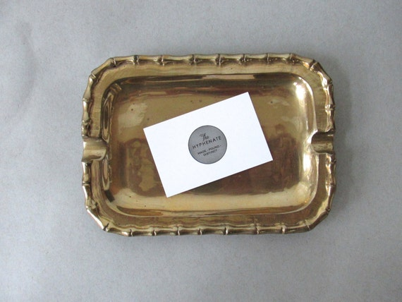Vintage brass tray brass bamboo tray small solid brass for Decorative crafts inc brass