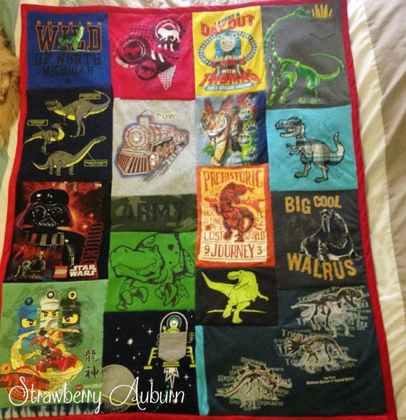 "Kid's Tshirt Quilts - Lap Size 30x50"" - Memory Quilt - Upcycled tshirts"