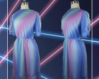 70s Secretary Dress Pastel Ombre M/L