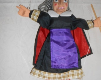 SALE Handmade Vintage WITCH Marionette Puppet- 1980's