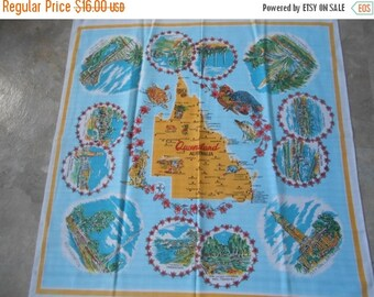 "SALE Vintage Australia ""Queensland"" Tablecloth - square- wonderful images and colors !  Great condition !"