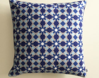 """Square Cushion Cover """"Mosaic"""" printed in blues, grey and white"""