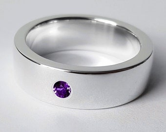 Wide Sterling Silver Amethyst Band - Sterling Silver Amethyst Ring, Sterling Silver Wide Band, Amethyst Wedding Band, Heavy Amethyst Band