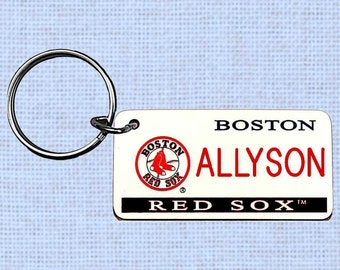Personalized Boston Red Sox keychain - key ring