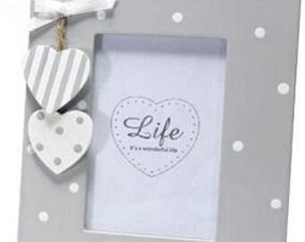 Wooden Frame Ligh Grey Polka Dots and Hearts