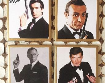 COASTERS!!! 007 James Bond coaster set with gold trim