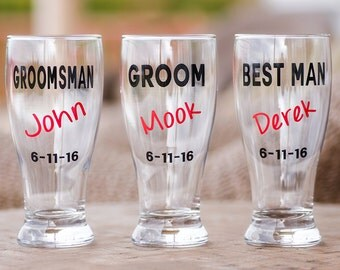Groom, Groomsmen, Best Man, Father of the Bride/ Groom beer glasses, red color. This listing is for one glass