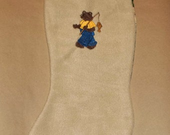 fishing bear Christmas stocking  tan fleece embroidered design mountains back