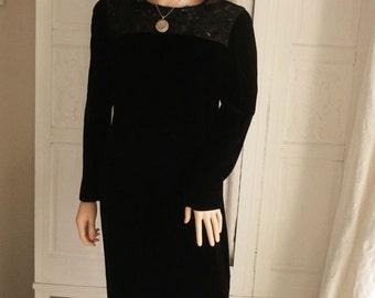 Vintage Dress 1980's Dress Black Dress Silk Velvet Dress Sequin Lace Dress Party Dress 80s  Evening Dress La Festa Chic Dress  A1017