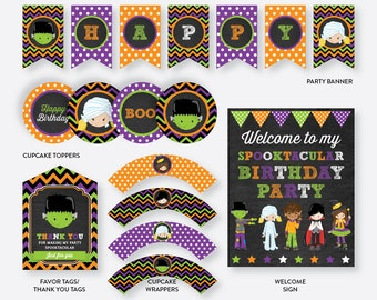 Instant Download, Halloween Party Package, Halloween Birthday Package, Halloween Party Pack, Halloween Printables, Chalkboard (CKB.139)