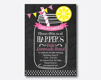 Lemonade Stand Birthday Invitation, Lemonade Invitation, Pink Lemonade Invitation, Lemonade Party Invite, Personalized, Chalkboard (CKB.70)
