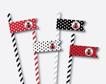 Instant Download, Ladybug Straw Flags, Red Polkadot Straw Flags, Ladybug Drink Flags, Ladybug Food Flags, Ladybug Party Printable (SKB.03)