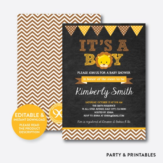 Instant Download Editable Lion Baby Shower Invitation Lion