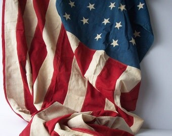 "Vintage 46 Star American Flag / Rare with Sewn Stars / 1908 /42"" by 71"" Linen"
