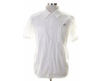 Adidas Mens Shirt Medium White Cotton
