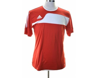 Adidas Mens T-Shirt Medium Red Polyester
