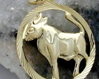 Zodiac pendant, Taurus, 9K GOLD