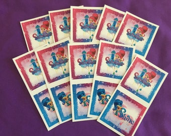 10 Shimmer and Shine Sticker Sheets (2 stickers per sheet) Party favors