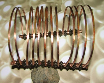 C20 - Copper Wire Cuff Bracelet 12 Wires Copper Colored Beads Wide Renaissance