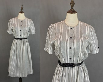 Japanese Vintage Stripes Dress / Cotton Dress / Summer Dress / Day Dress / Made in Japan / Size Small