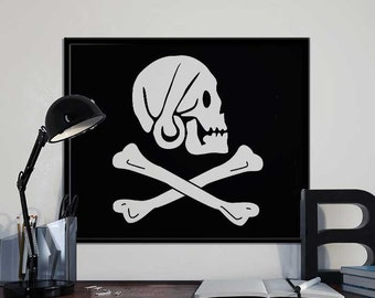 Henry Every Pirate Flag - Alternative Black Sails Pirate Art Print Poster - PRINTABLE 8x10 inches
