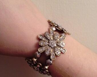 Rustic Sparkling Flower Bracelet