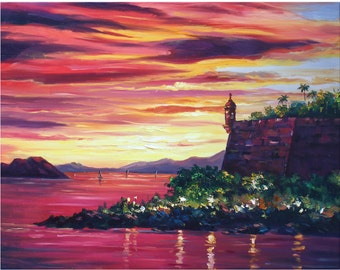 "Puerto Rico,24""x20"", Canvas print,of,oil painting,Original print,Signed by painter,El Morro,Old San Juan"
