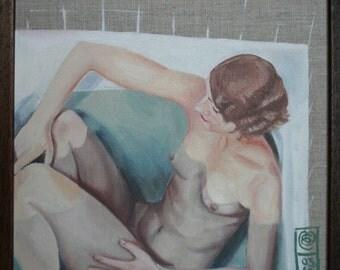Lee. An original framed oil painting of Lee Miller on stretched linen by Mel Evans. 35cm x 35cm.