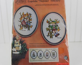 Hummel Boy in Apple Tree Figurine Crewel Embroidery Kit, Apple Tree Children, K213
