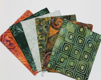 Batik Fat Quarter Bundle, Bird of Paradise, Fabric Destash, 6 Pc Bundle