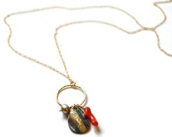 Long Gold Layering Necklace, Paua Shell Necklace, Gold Hoop Necklace, Long Cluster Necklace