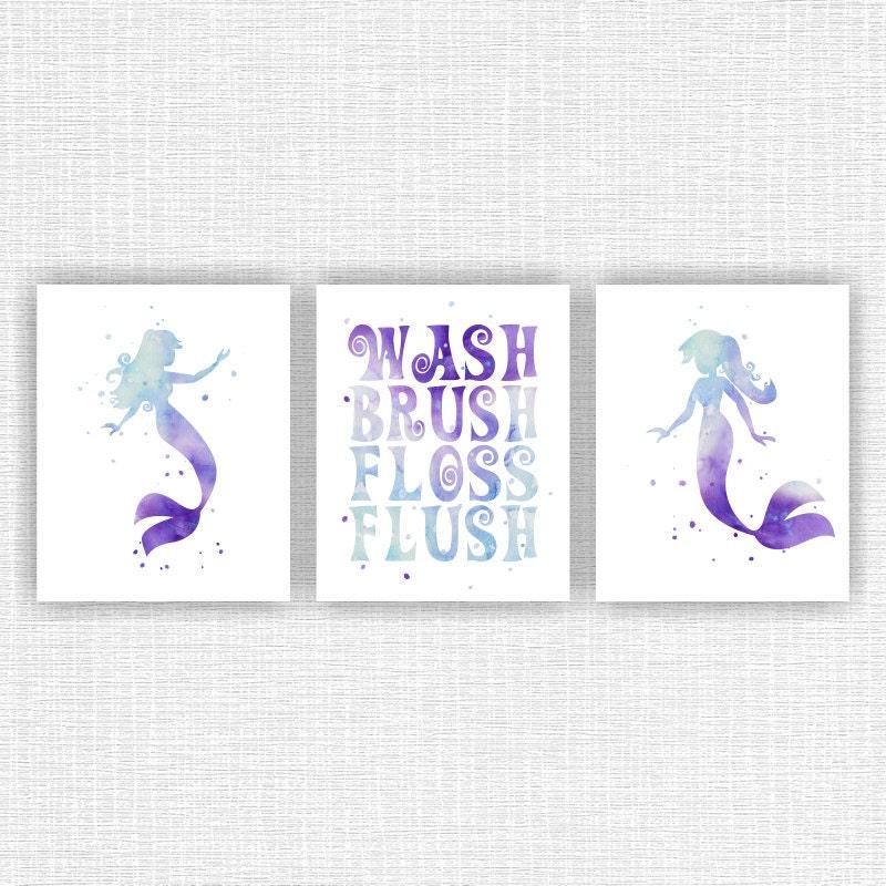 The Little Mermaid Bathroom Watercolor Wall Art Decor Wash
