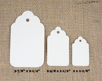 Ivory Paper Tags - Ivory Gift Tags - Hang Tags - Cardstock Tags - Scallop edge Tags