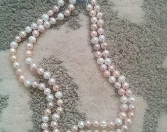 Two Strand Pink Fresh Water Pearl Necklace