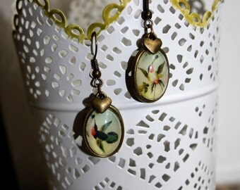 Earrings Hummingbird, vintage pictures as jewelry with heart
