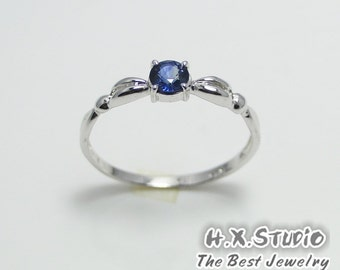 Genuine Blue Sapphire Sliver Ring, 925 Sapphire Ring, Birthdays, Wedding. Anniversary, Valentine, Bridemaid, Christmas, Special Occasions