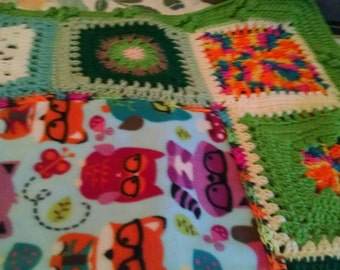 Adorable Owl Afghan  for baby or girl