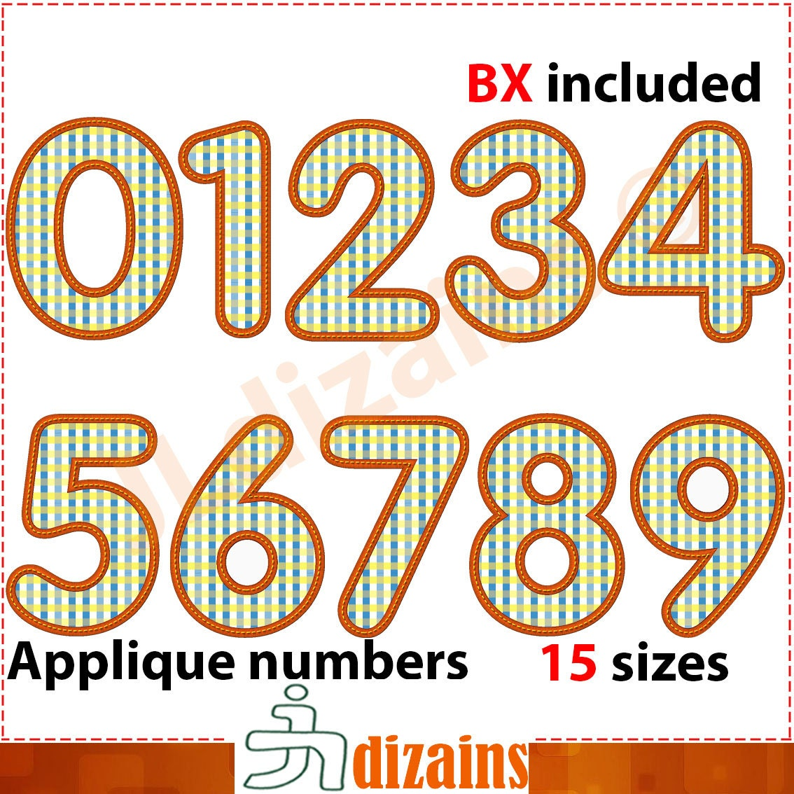 Applique numbers number embroidery design birthday
