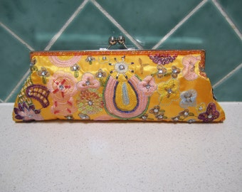 Vintage Yellow Beaded  and Embroidered Evening Bag/Clutch