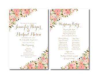 Vintage Wedding Programs, Fall Wedding, Vintage Floral, Floral Wedding, Vintage Wedding, Wedding Programs, Ceremony Order of Service #CL171