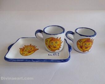 Italian espresso set, italian coffee set, italian coffee cups, italian ceramics italian pottery, sun and moon ceramics, hand made coffee cup