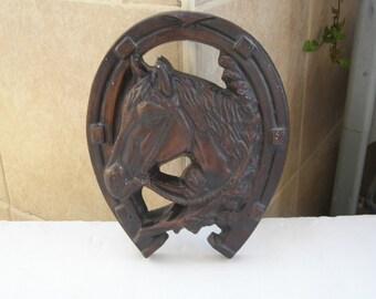 Vintage Marvelous Horseshoe Ceramic Wall Relief Sculpture Plaque