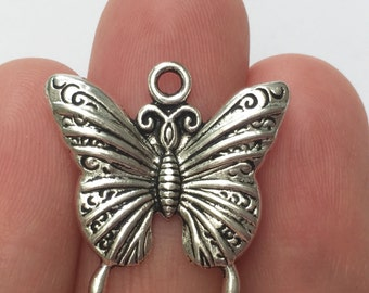 6 Butterfly Charms Antique Silver SC885
